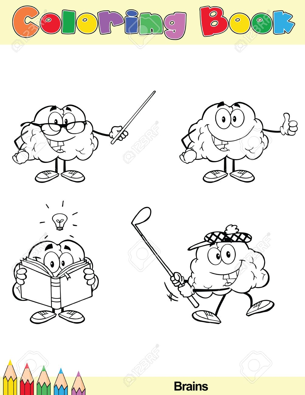 Coloring Book Page Brain Cartoon Character 6 Royalty Free Cliparts ...