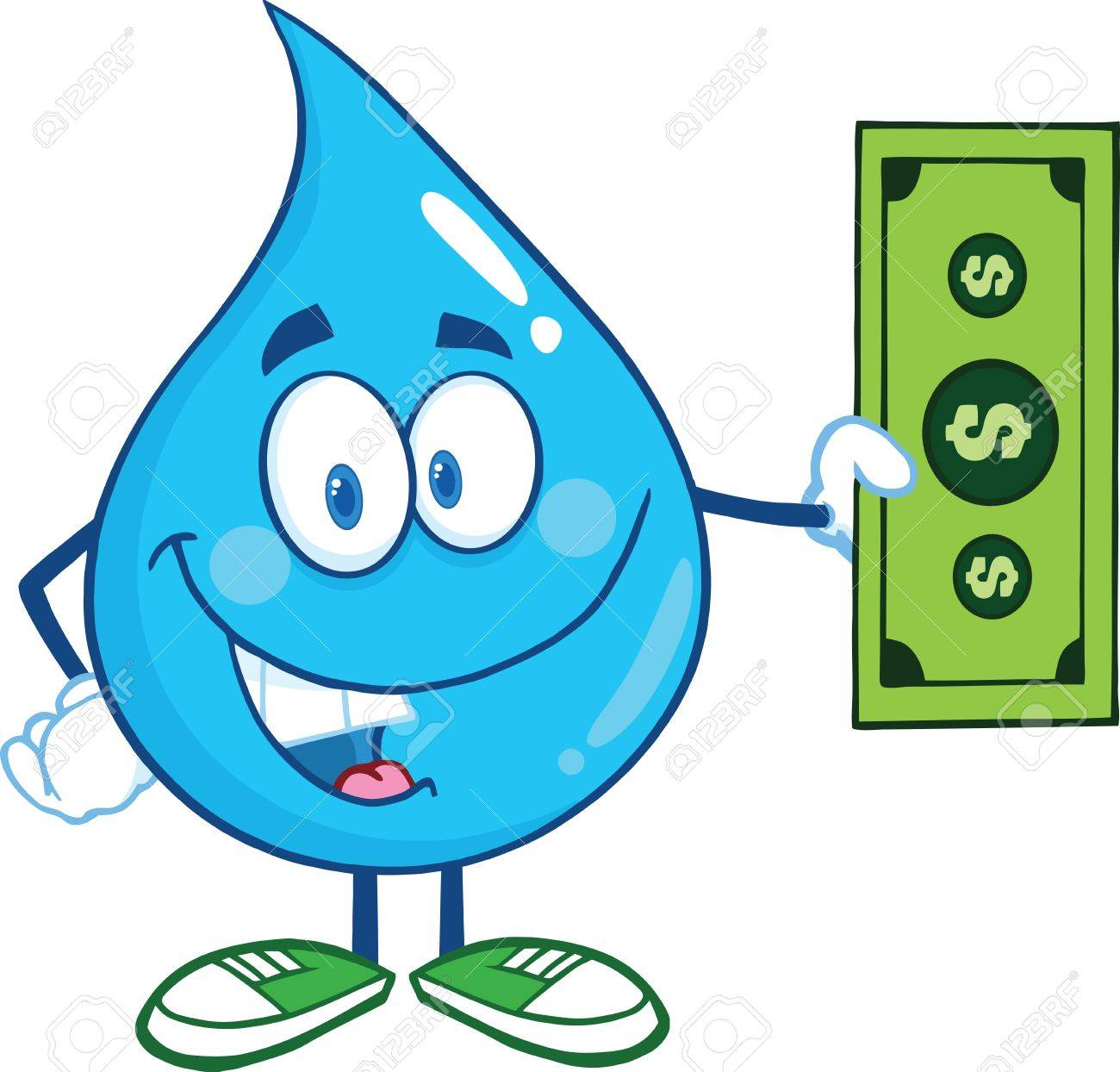 Vector Water Drop Character Showing A Dollar Bill