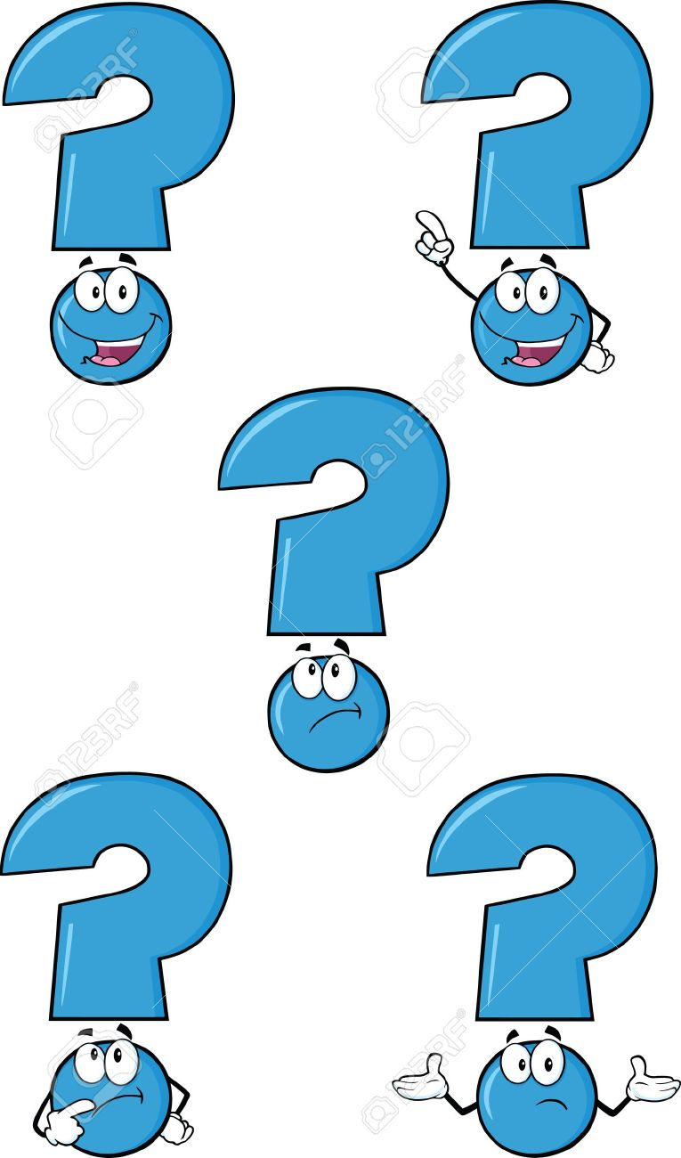 Blue Question Mark Cartoon Characters Set Collection Royalty Free