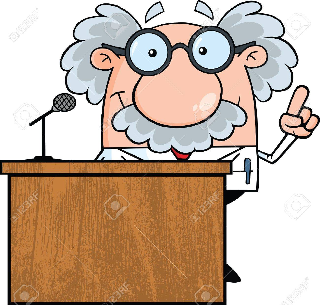 Smiling Scientist Or Professor Present From Podium Stock Vector - 21699407