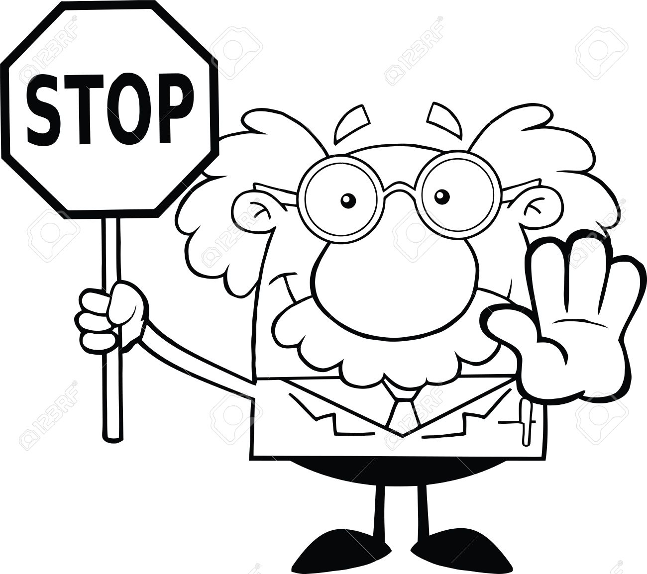 black and white scientist or professor holding a stop sign royalty free cliparts vectors and stock illustration image 21699426 black and white scientist or professor holding a stop sign
