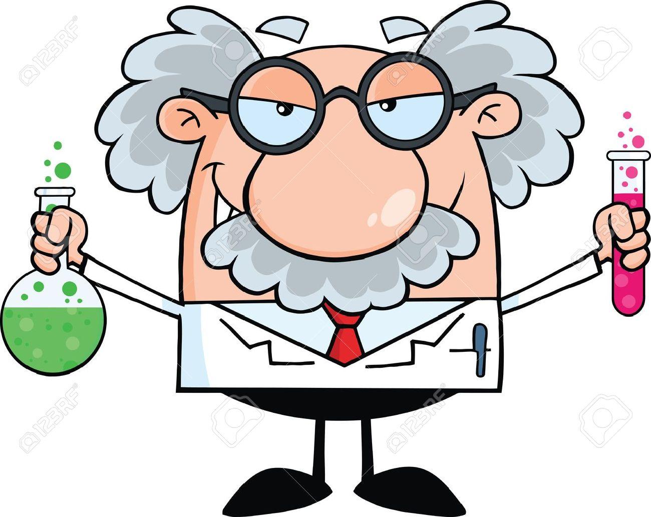 Pics photos clip art cartoon scientist with question mark stock - Genius Mad Scientist Or Professor Holding A Bottle And Flask With Fluids