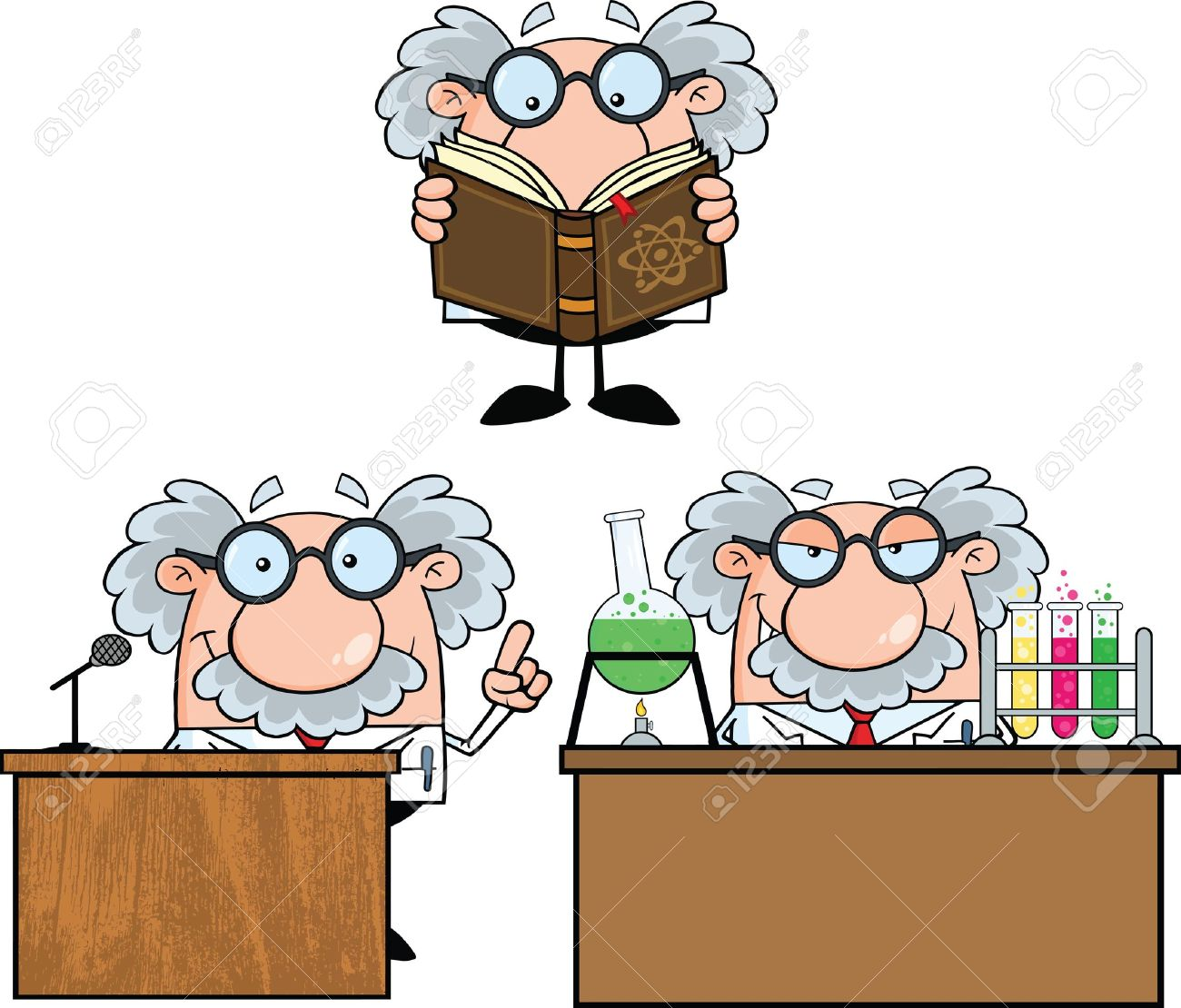 funny scientist or professor cartoon characters set collection