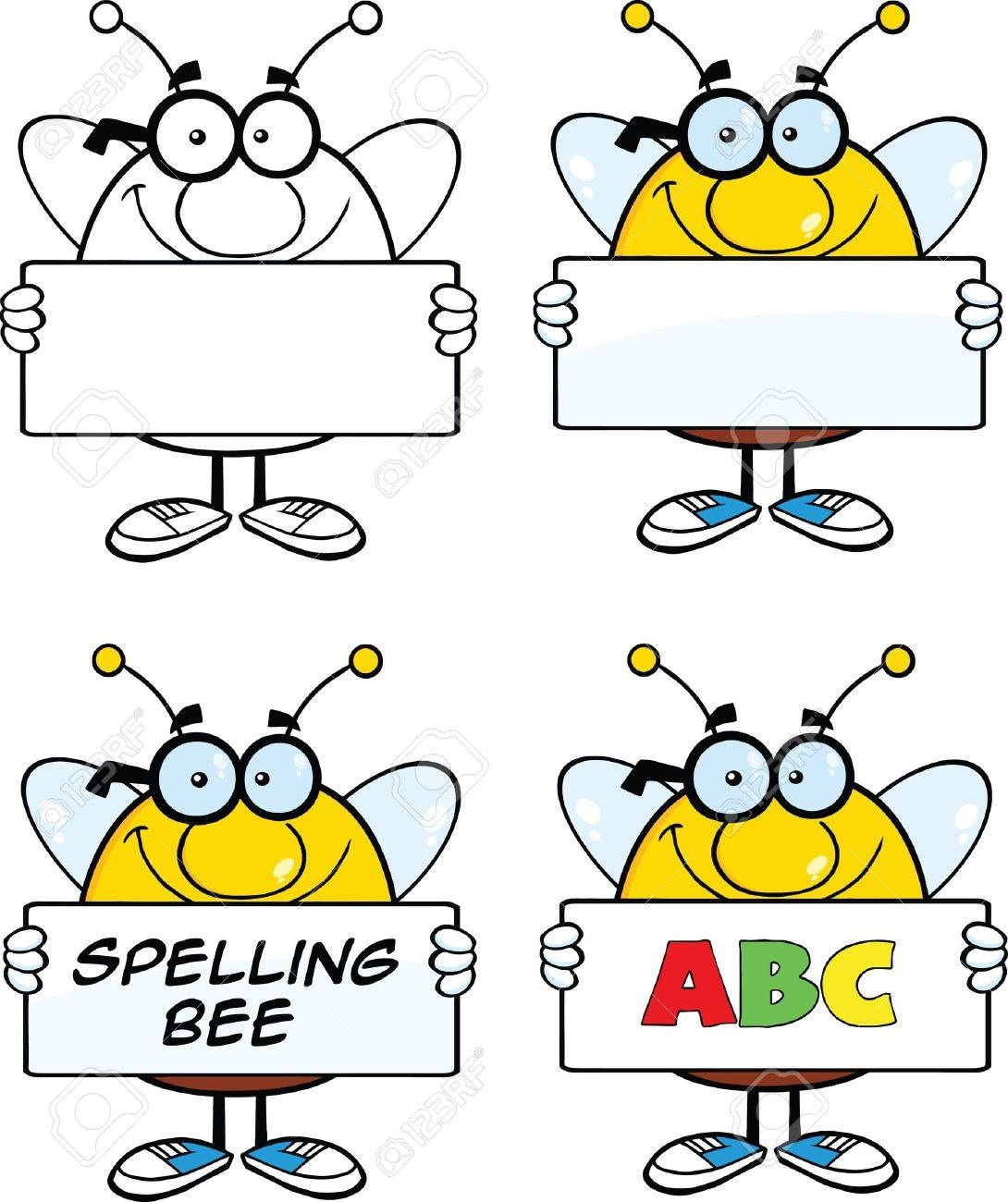 Bee Cartoon Mascot Characters  Set Collection 4 Stock Vector - 21821015
