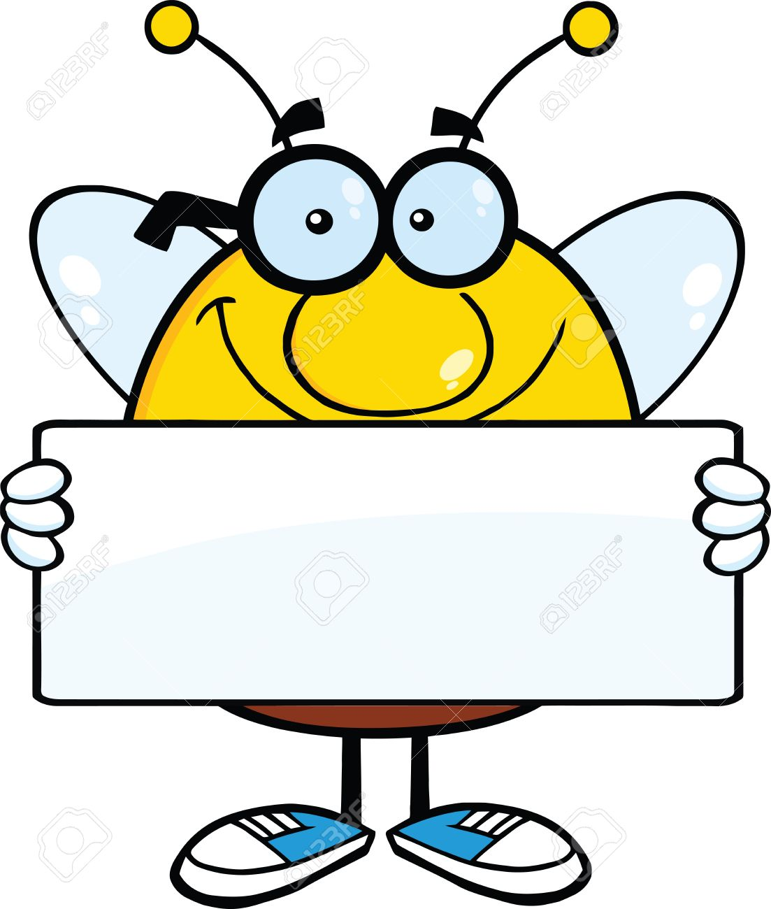 Smiling Pudgy Bee Cartoon Mascot Character Holding A Banner ...