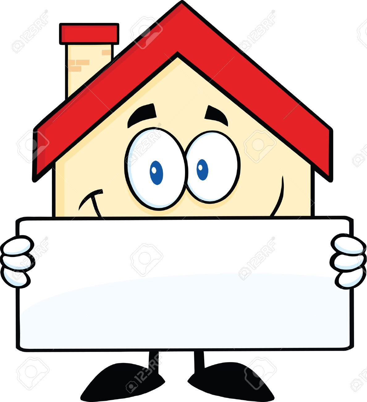 Smiling House Cartoon Mascot Character Holding A Banner Royalty ...