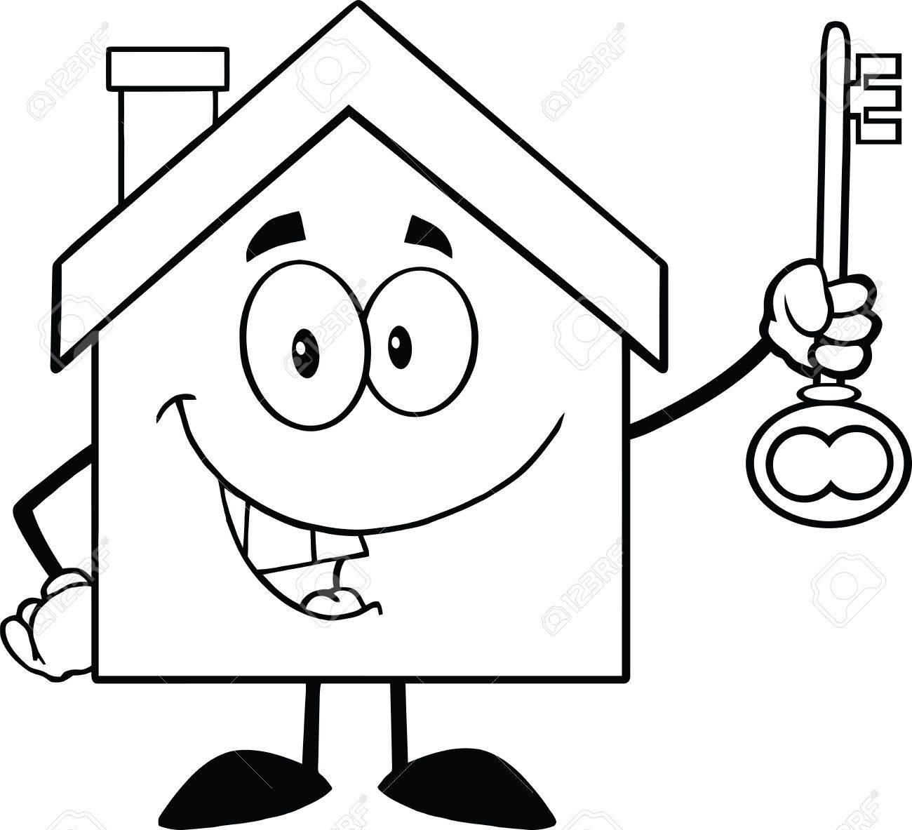 Banque dimages retour et la maison blanche personnage de dessin animé supportant une clé