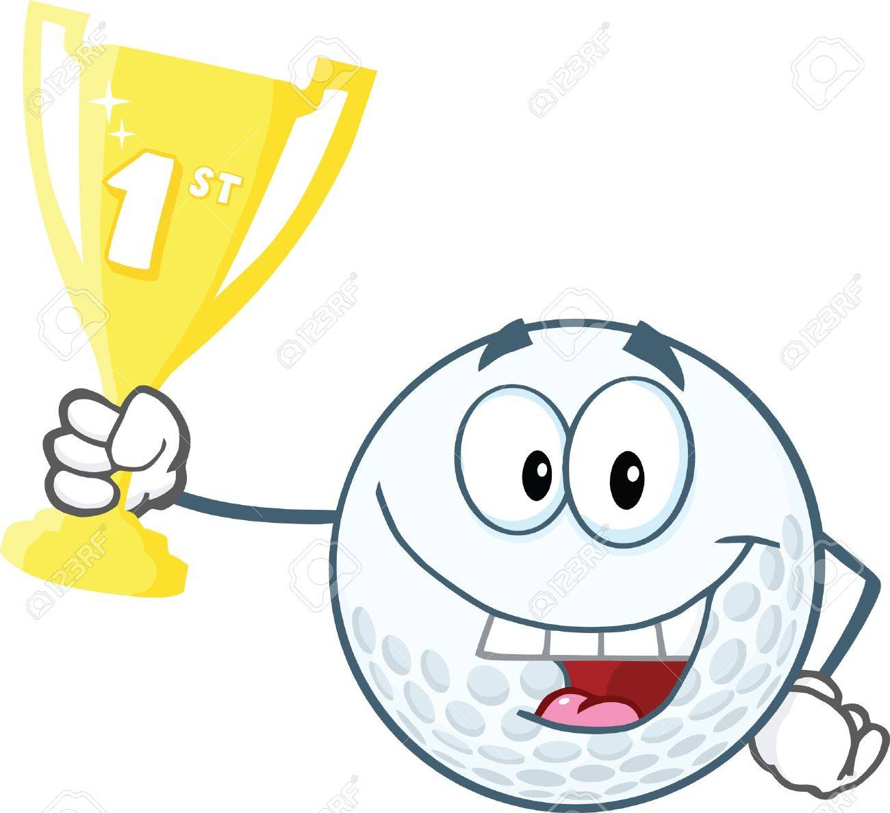 Happy Golf Ball Holding First Prize Trophy Cup Royalty Free Cliparts Vectors And Stock Illustration Image 21983905