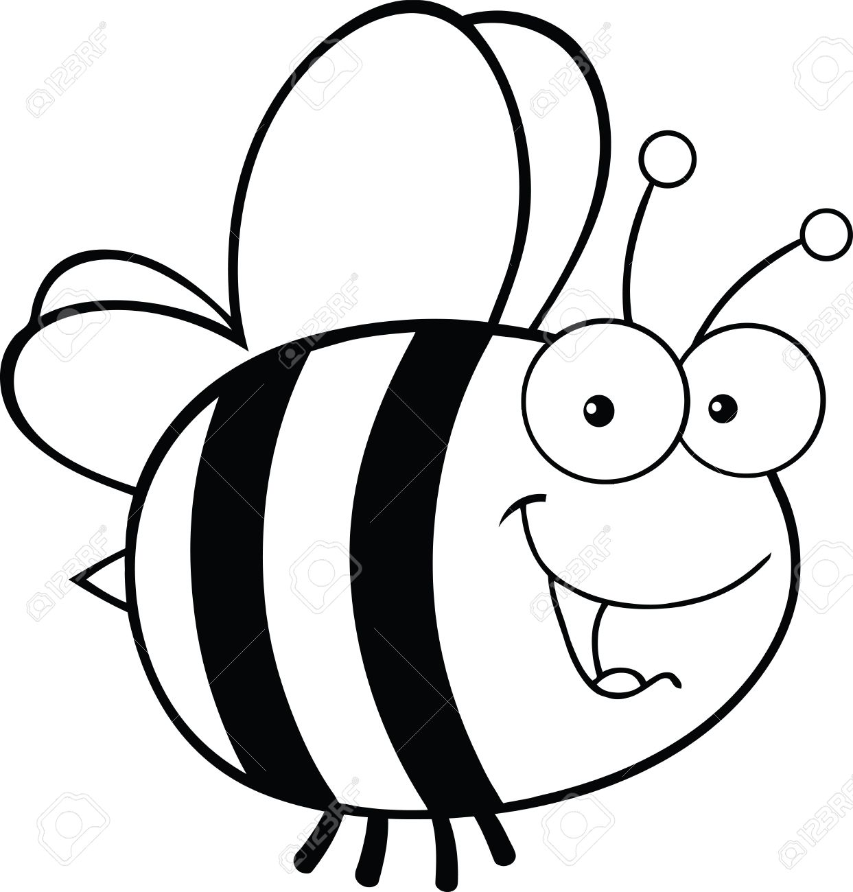Black And White Cute Bee Cartoon Mascot Character Royalty Free