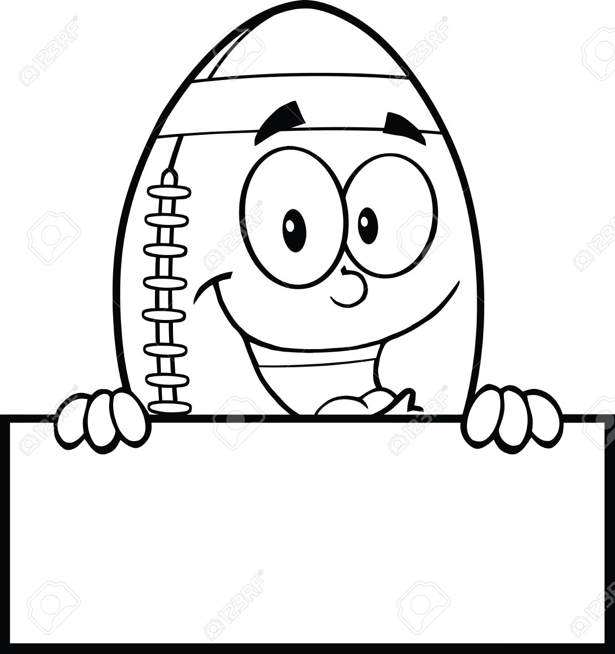 Black And White American Football Ball Cartoon Character Over