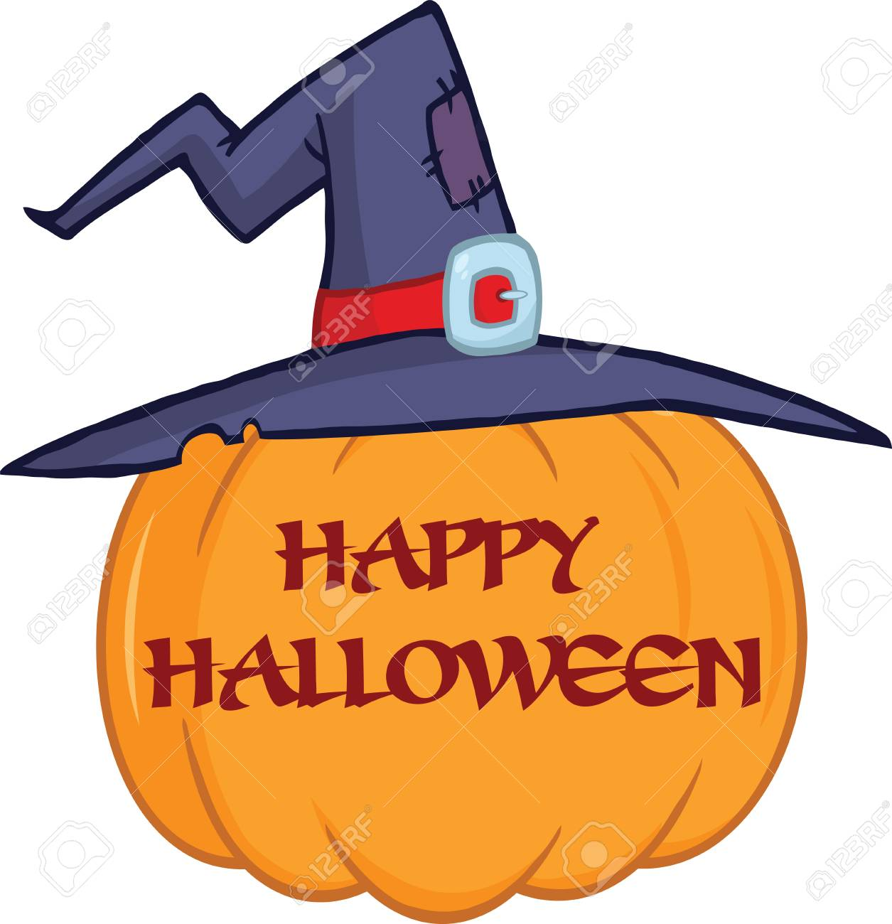 Pumpkin With A Witch Hat And Text Cartoon Illustration Stock Vector - 22240767