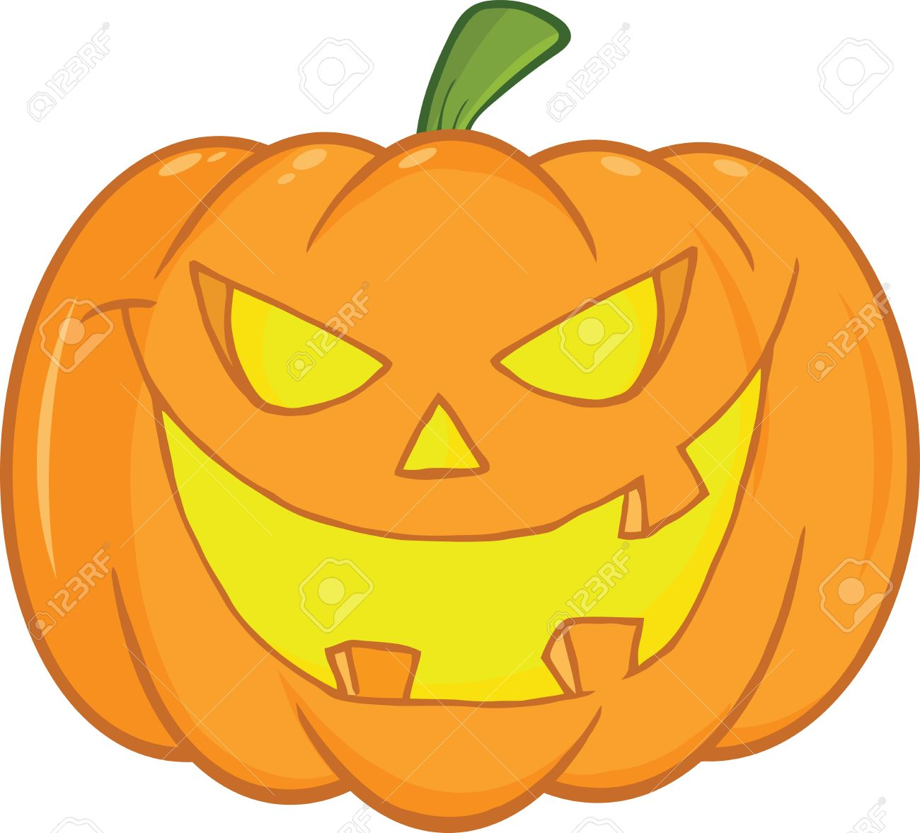 Halloween Pumpkin Cartoon Images.Scary Halloween Pumpkin Cartoon Illustration