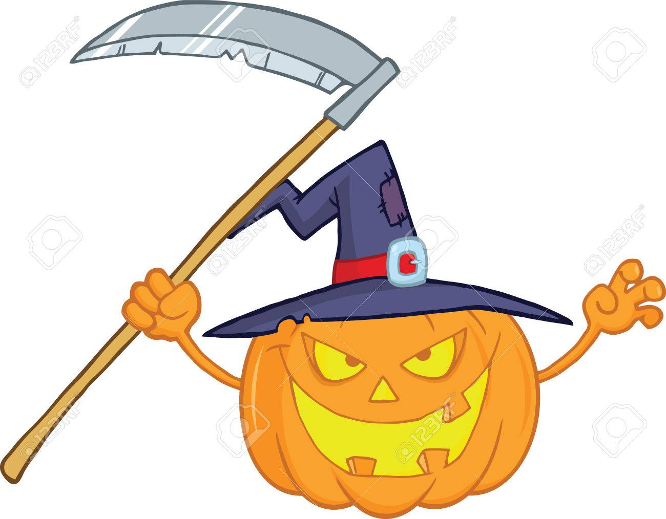 Scaring Halloween Pumpkin With A Witch Hat And Scythe Cartoon Illustration Stock Vector