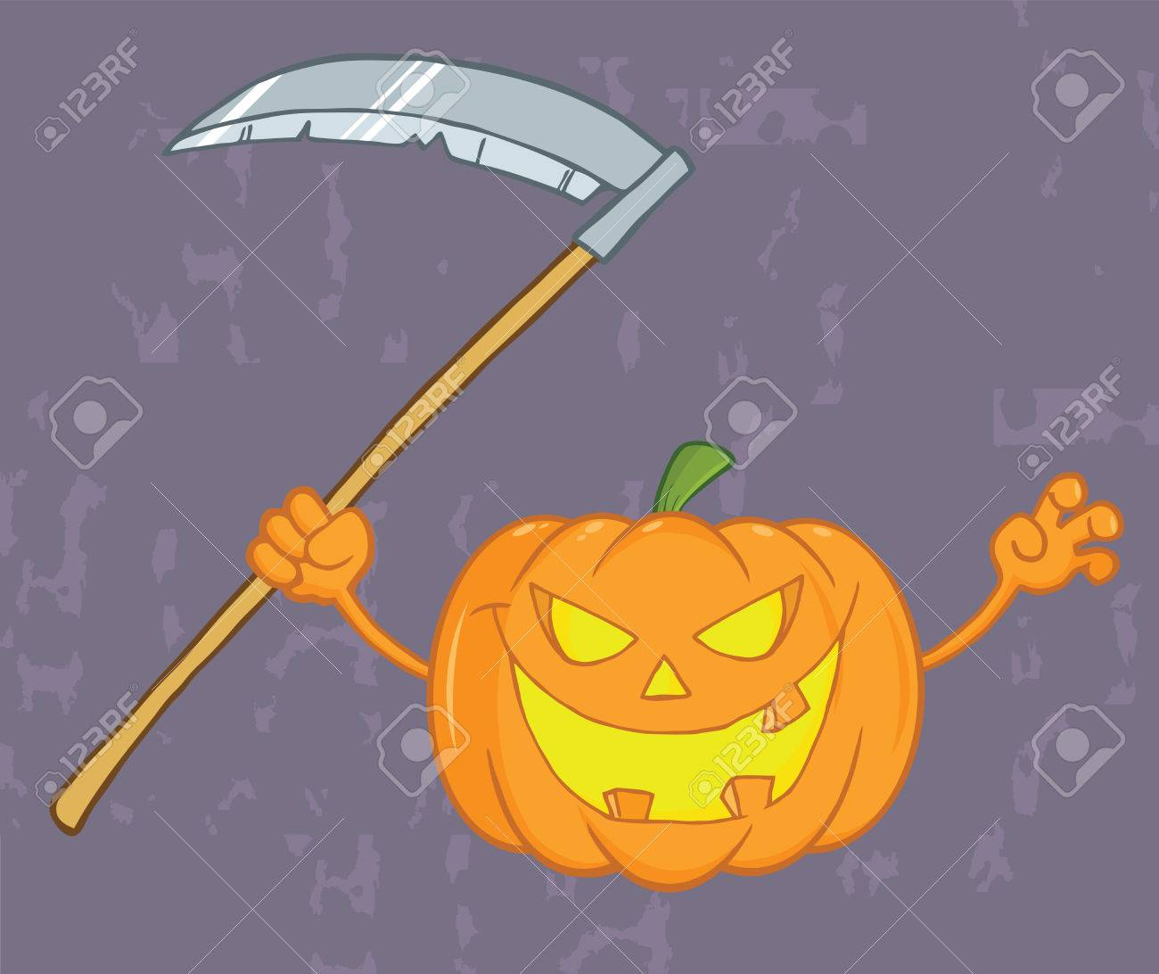 Scaring Halloween Pumpkin With A Scythe And Grunge Background Stock Vector