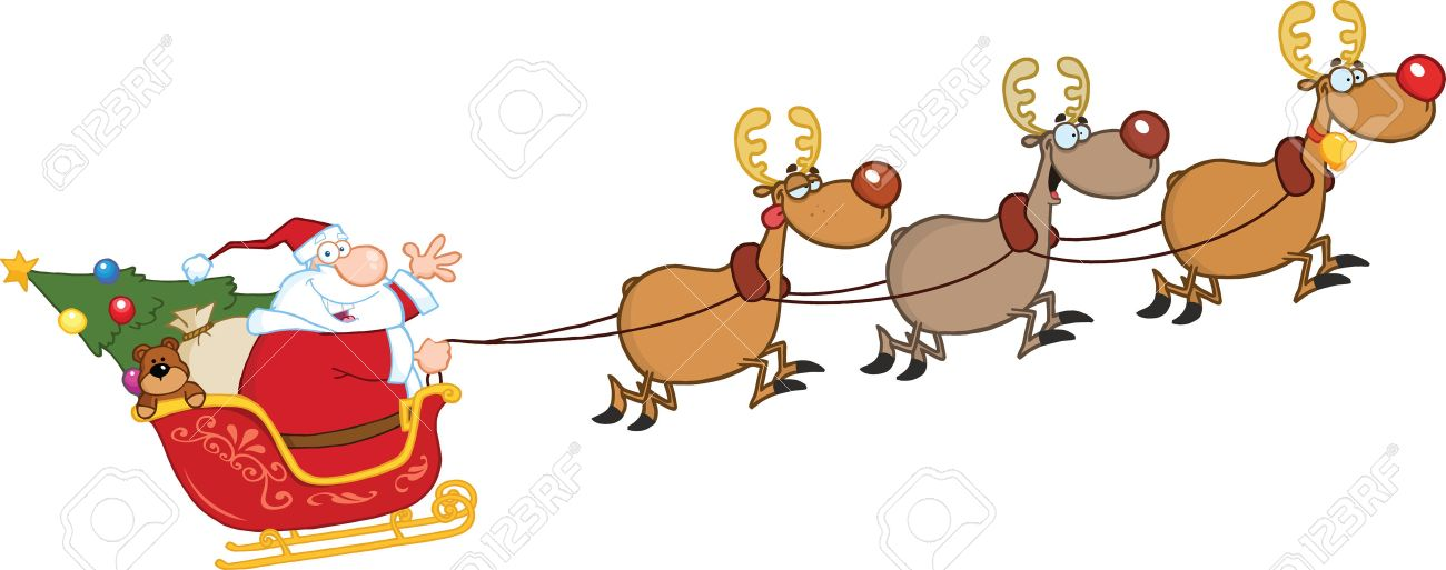 Santa Claus In Flight With His Reindeer And Sleigh Royalty Free ...