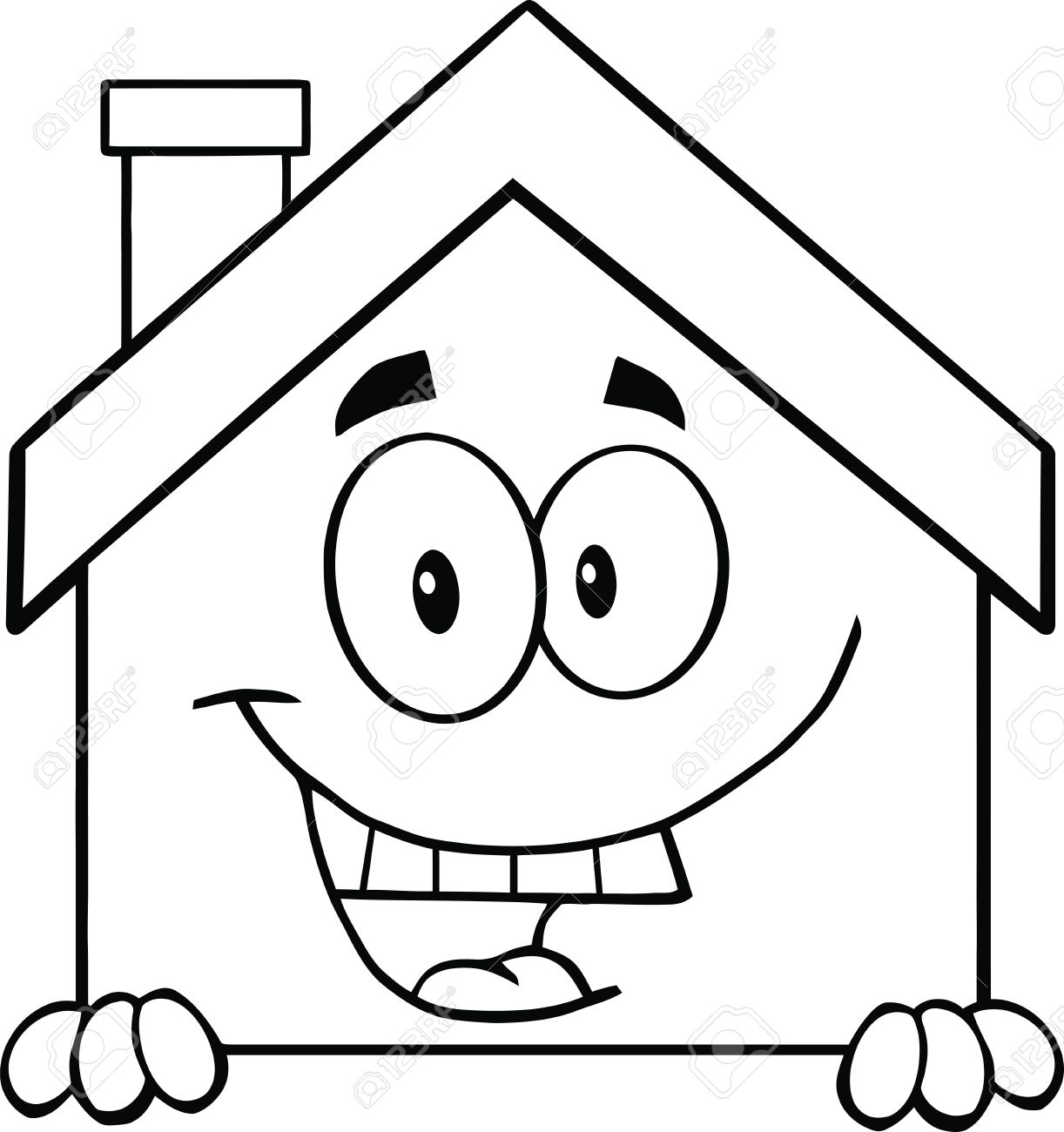 House Cartoon Images Black And White Black And White House Cartoon