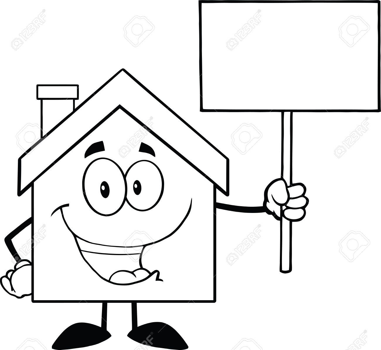 Haus clipart schwarz weiß  Schwarzweiß-Bild Haus Cartoon Charakter Hält Ein Leeres Zeichen ...