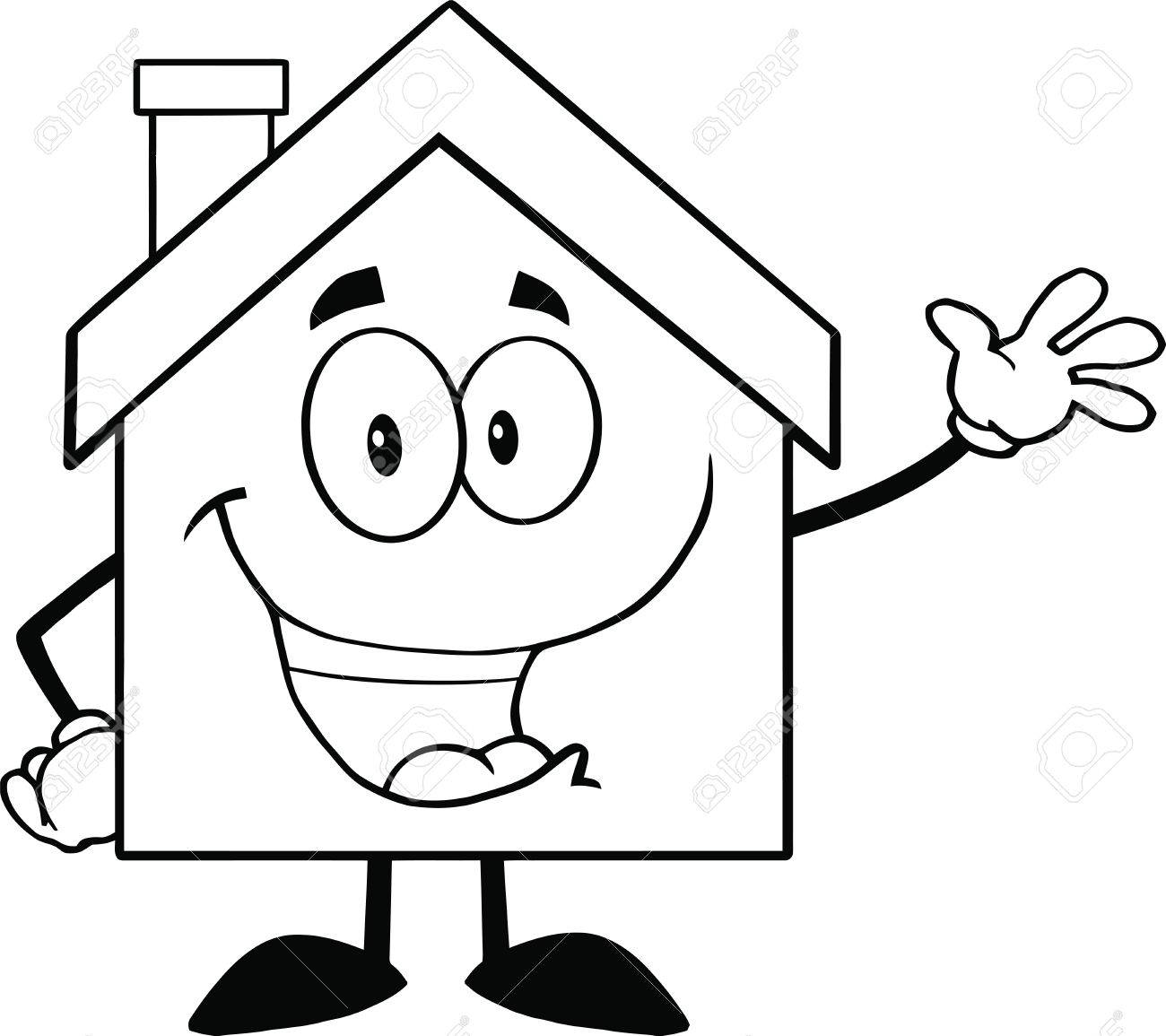 Back And White House Cartoon Mascot Character Waving For Greeting Stock Vector - 22617507