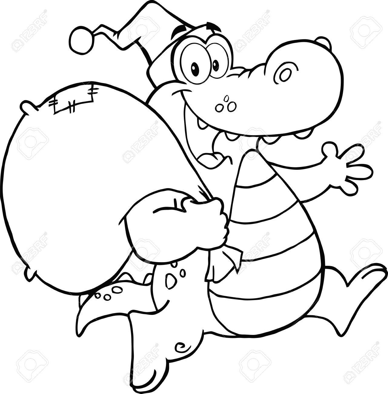Black And White Crocodile Santa Cartoon Mascot Character Running ... for Clipart Crocodile Black And White  570bof