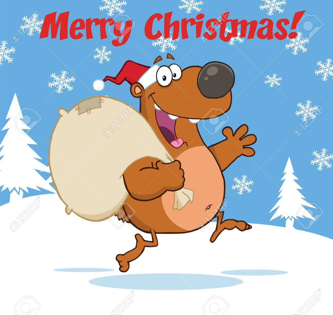 Christmas Wishes Bear.Merry Christmas Greeting With Santa Bear Running With Bag And