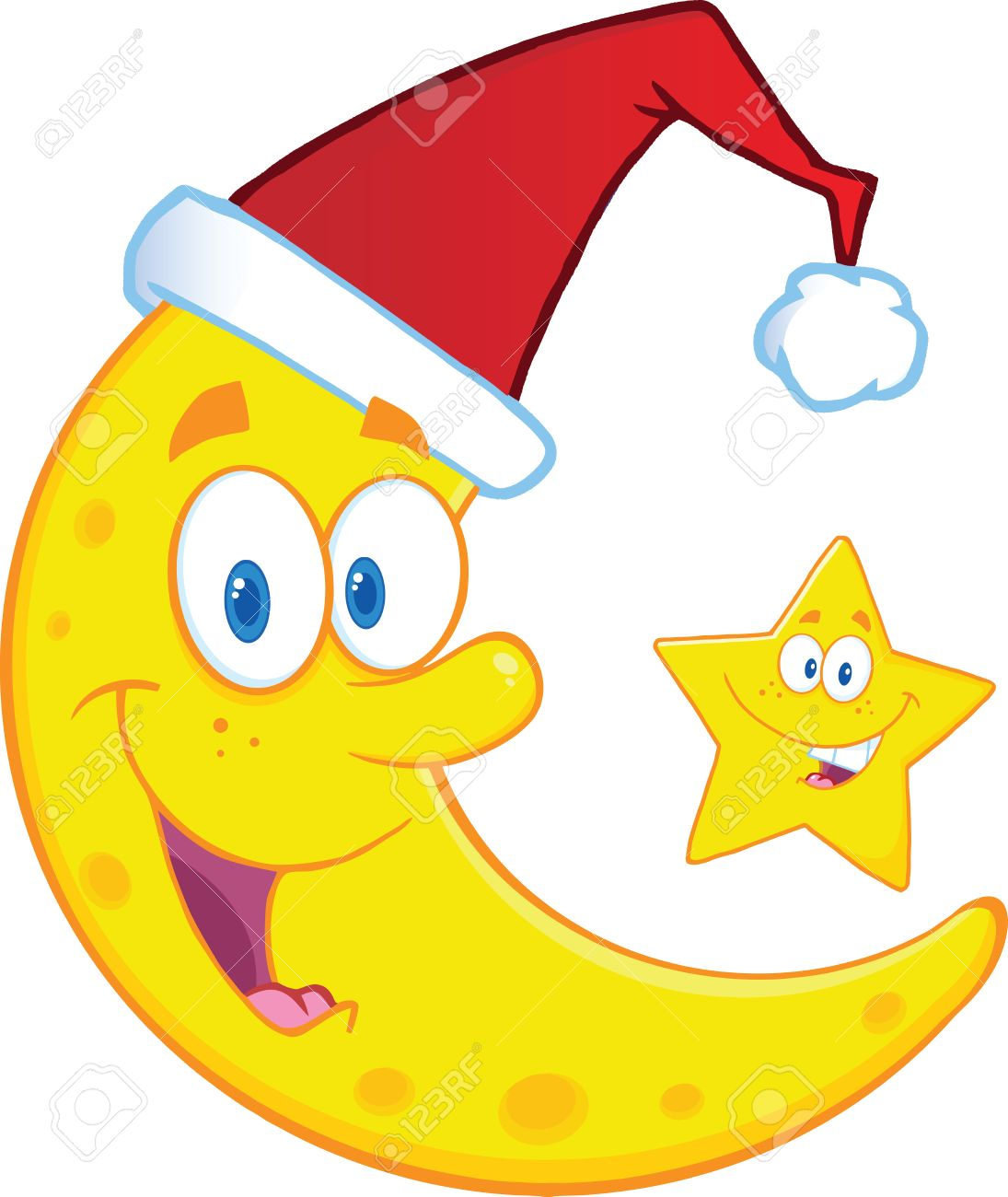 crescent moon with santa hat and christmas star cartoon characters rh 123rf com Crescent Moon Symbol crescent shaped moon cartoon images