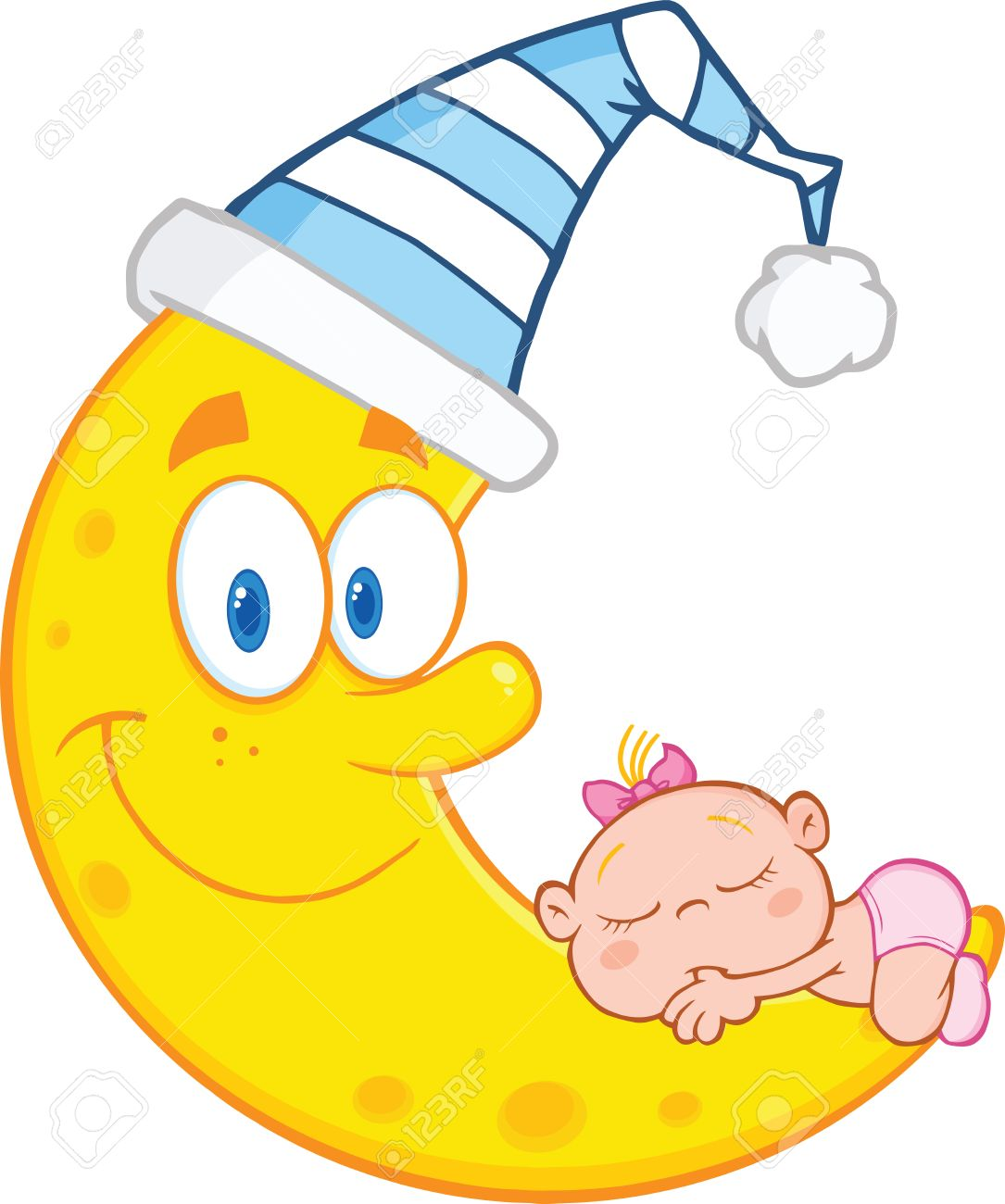Cute Baby Girl Sleeps On The Smiling Moon With Sleeping Hat Royalty Free Cliparts Vectors And Stock Illustration Image 23979619
