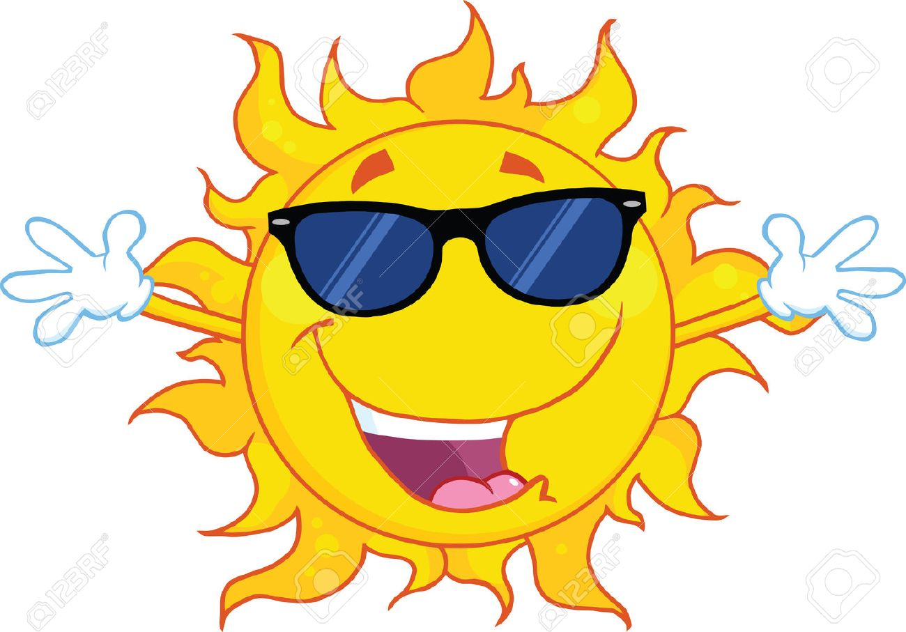 Happy Sun With Sunglasses And Open Arms - 24999924