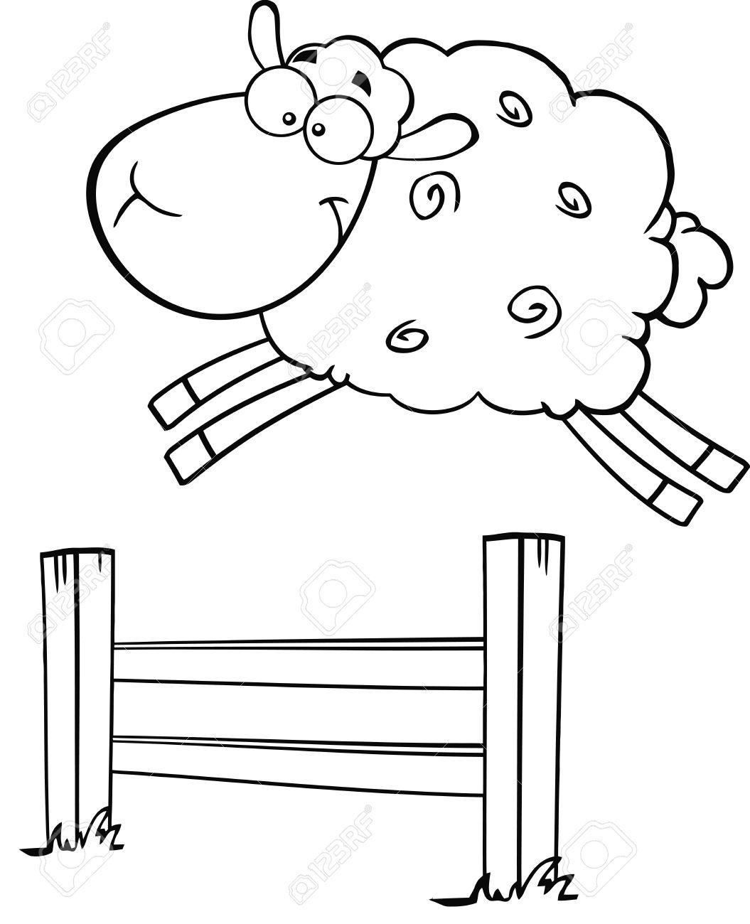 Schwarzweiß Lustige Weiße Schafe Springen über Den Zaun Illustration ...