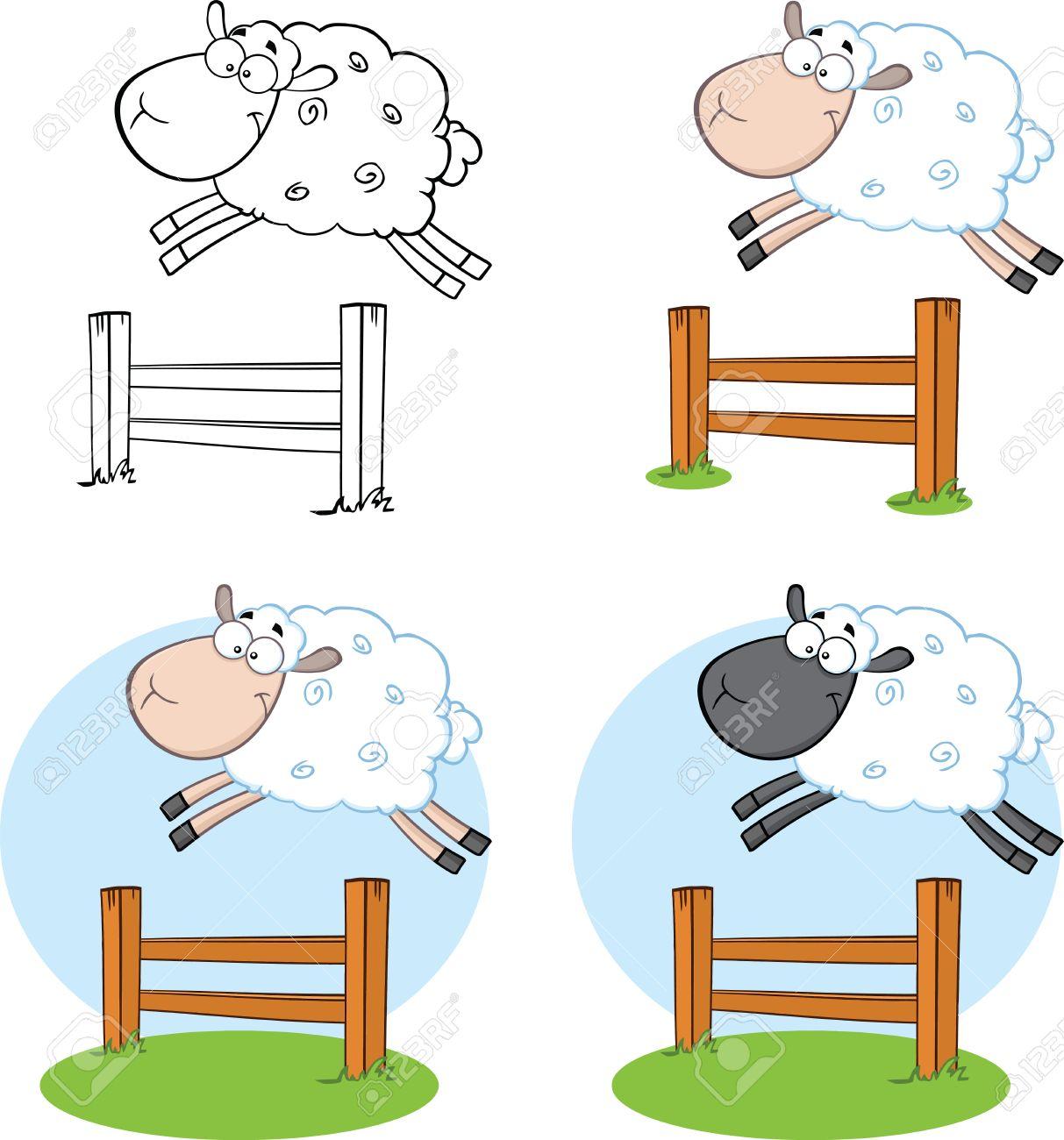 Schaf Cartoon Charaktere Sprung über Einen Zaun Collection Set ...