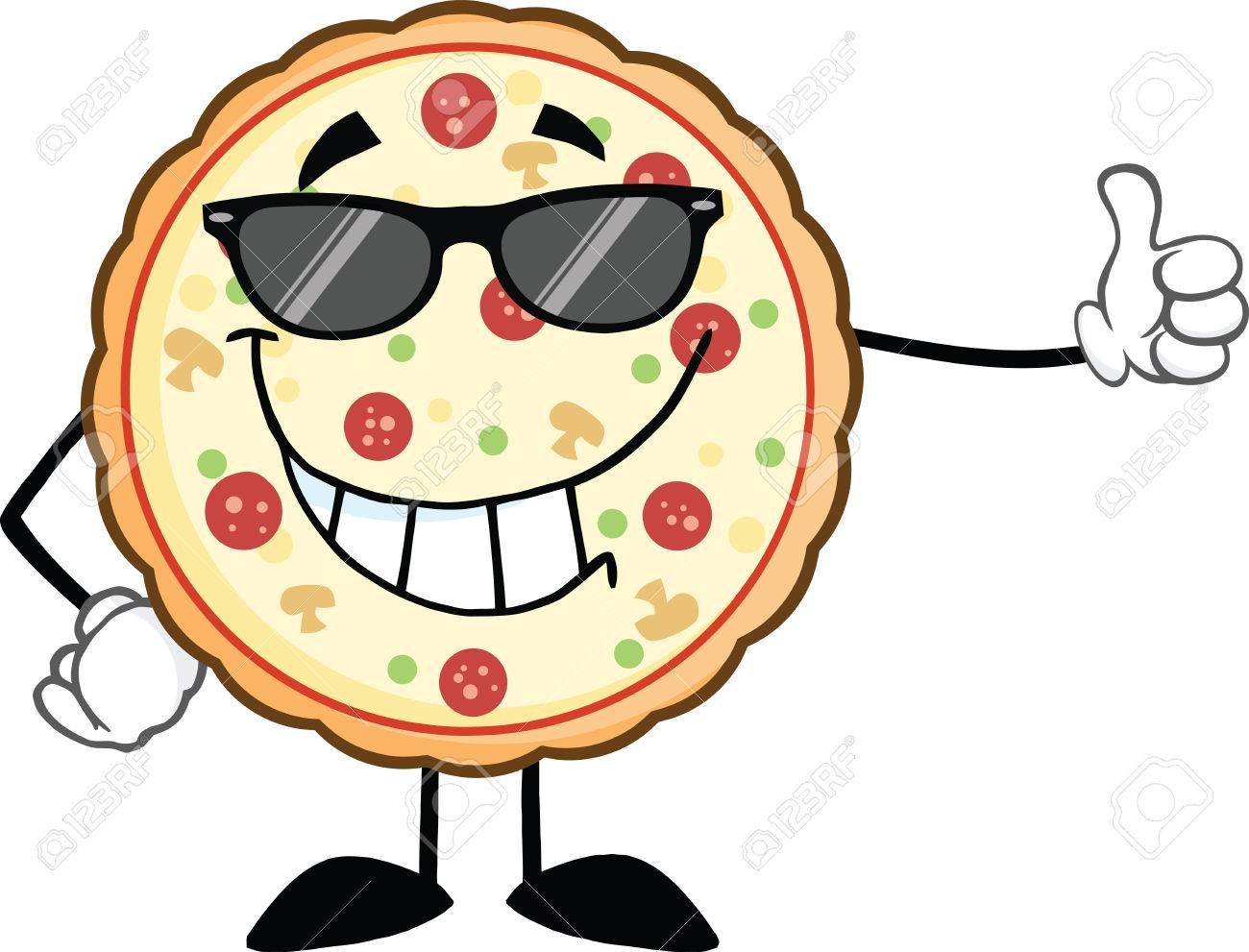 Smiling Pizza With Sunglasses Giving A Thumb Up Illustration ...