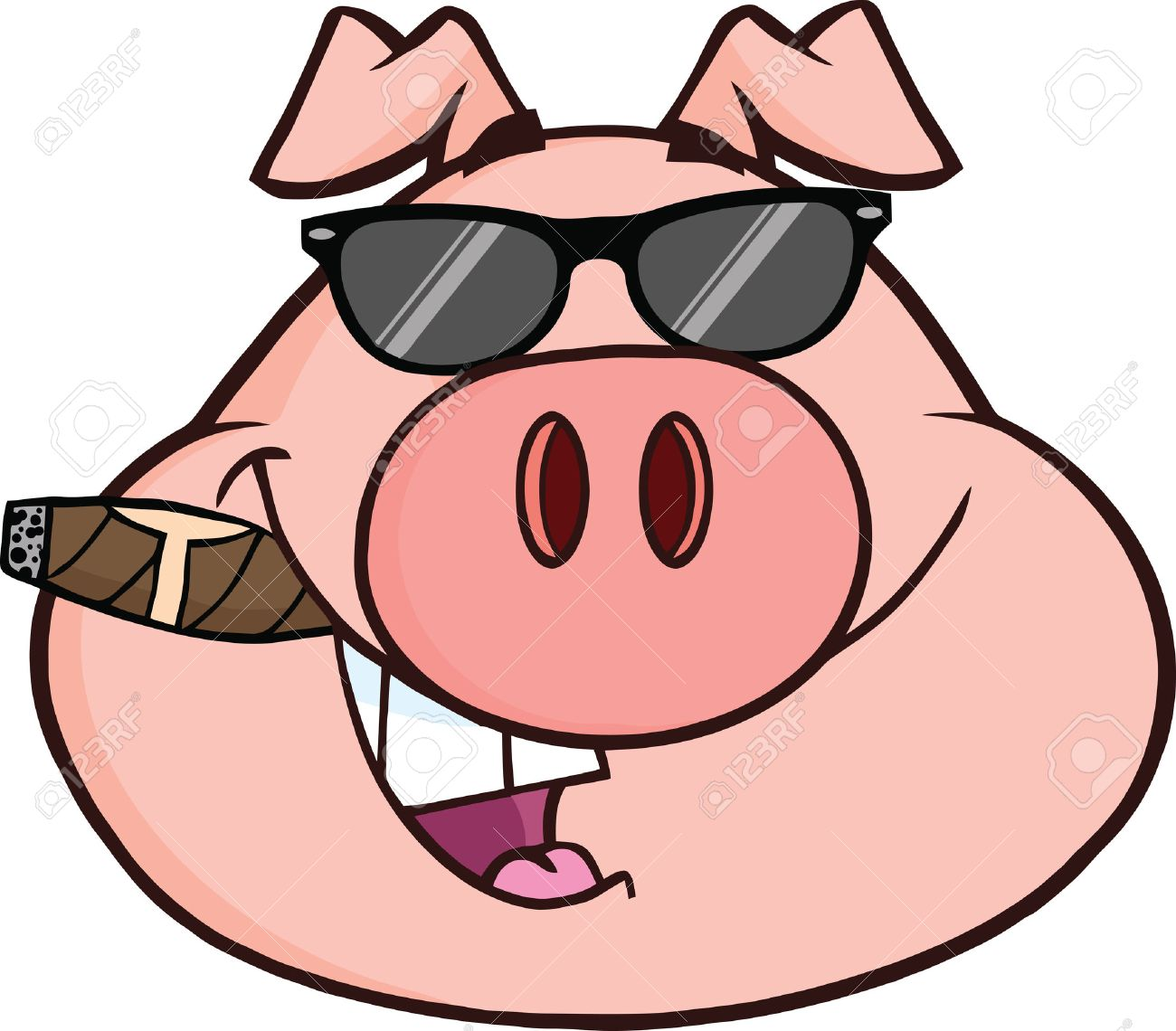 Empresario Cabeza De Cerdo Con Gafas De Sol Y El Cigarro Ilustración ...