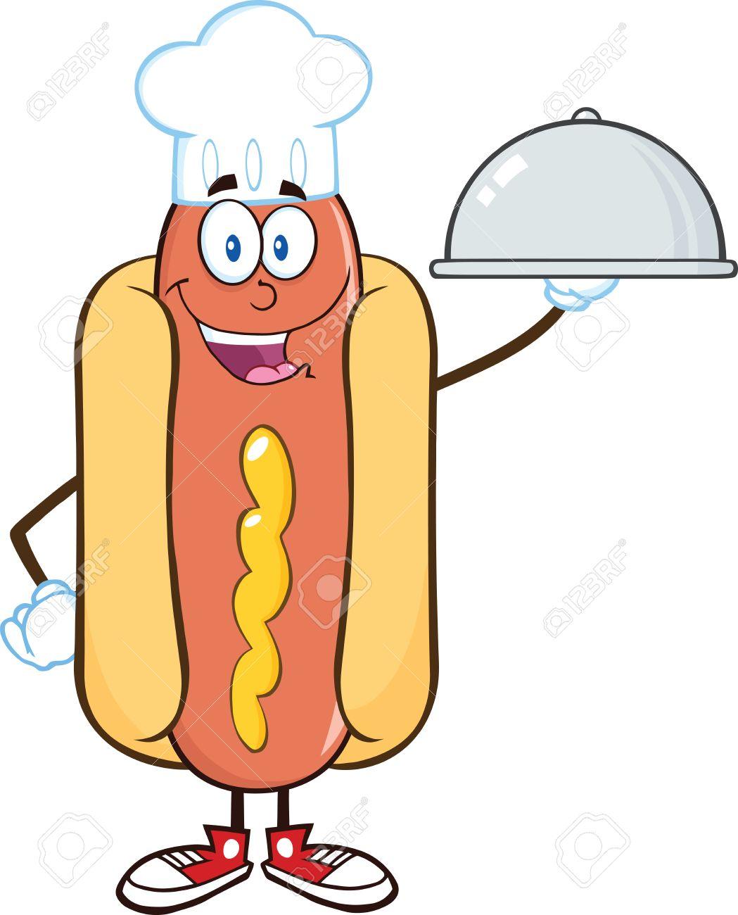 Carácter Feliz De Hot Dog Chef De Dibujos Animados Mascota Con Una