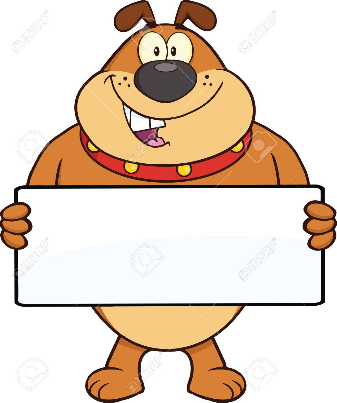 Brown Bulldog Cartoon Mascot Character Holding A Banner ...