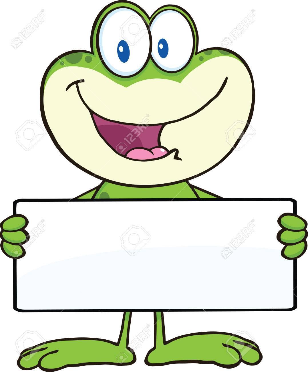 Cute Frog Cartoon Mascot Character Holding A Banner Illustration ...