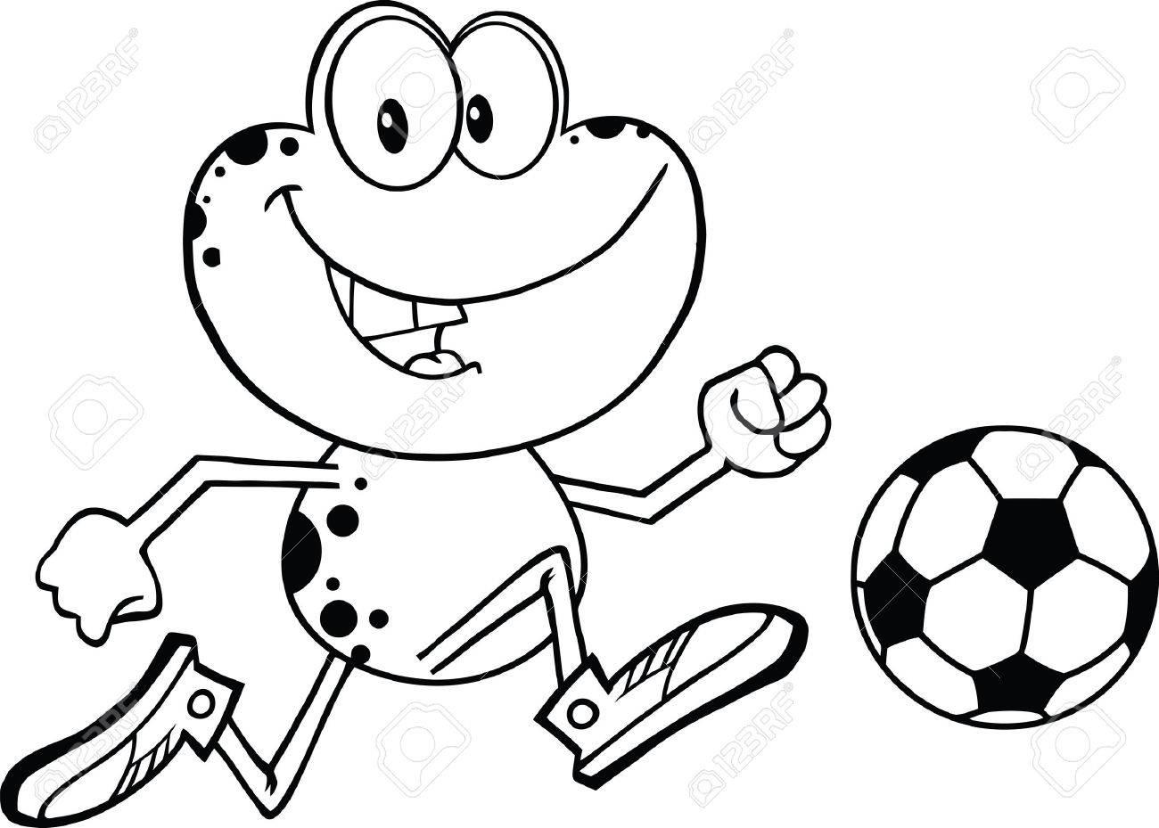 黒と白のかわいいカエル漫画文字再生とサッカー ボール イラスト分離白の