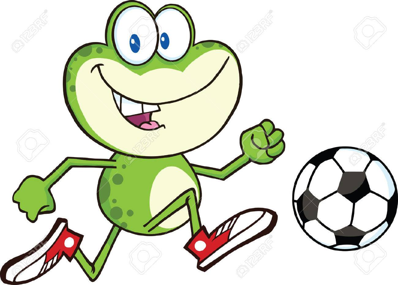 Uncategorized Frog Cartoon cute green frog cartoon character playing with soccer ball illustration isolated on white stock vector