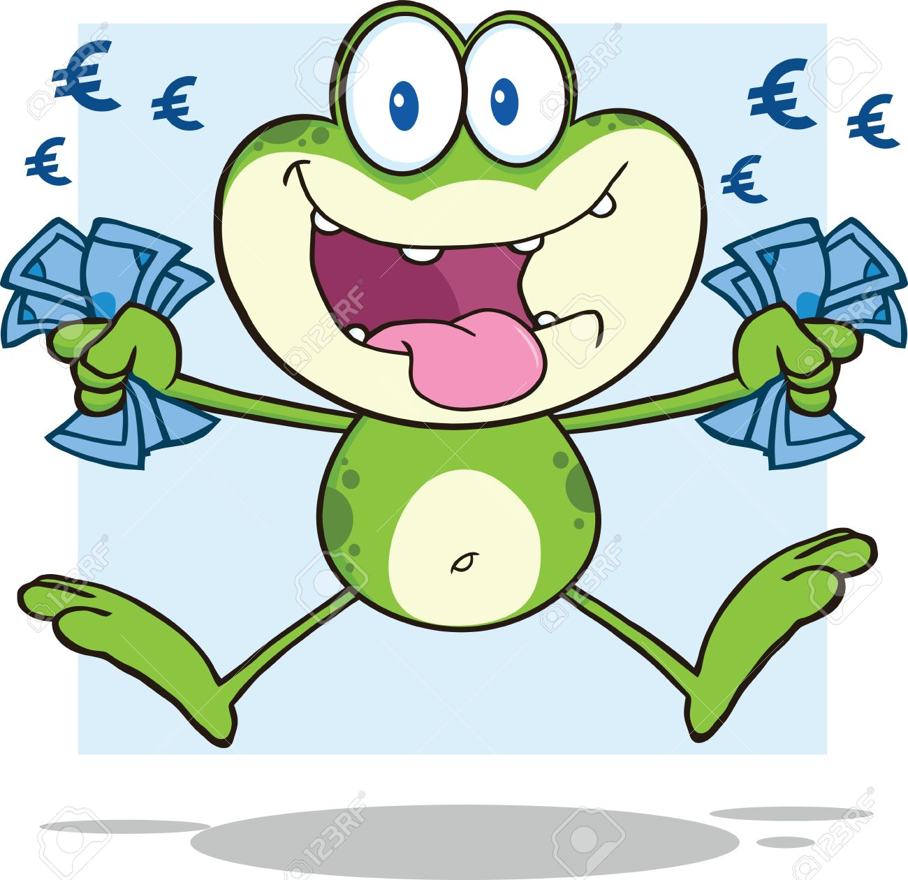 Green Frog Cartoon Mascot Character Jumping With Euro Money Royalty
