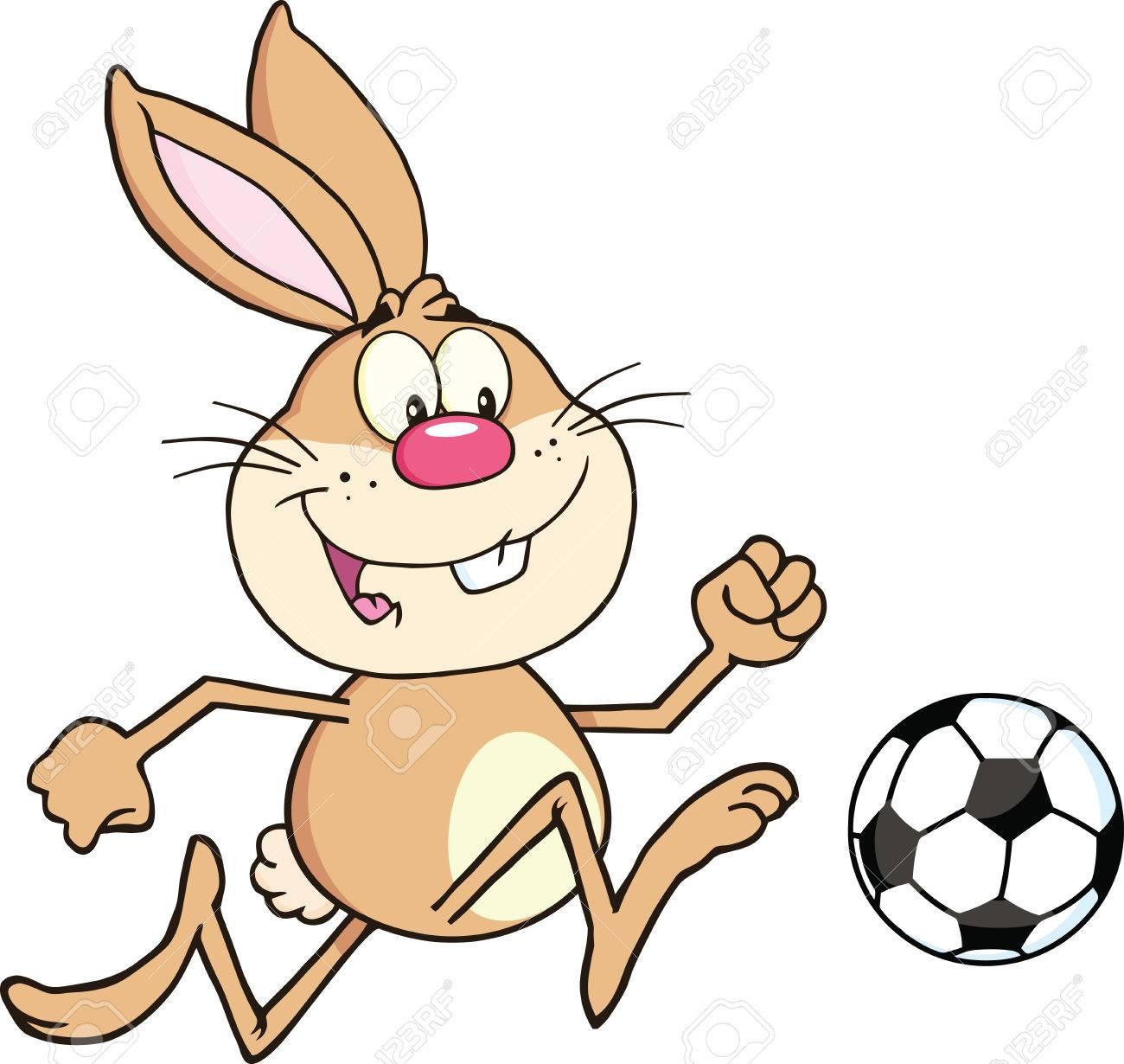 かわいいウサギ漫画文字再生でサッカー ボール イラスト分離白のイラスト