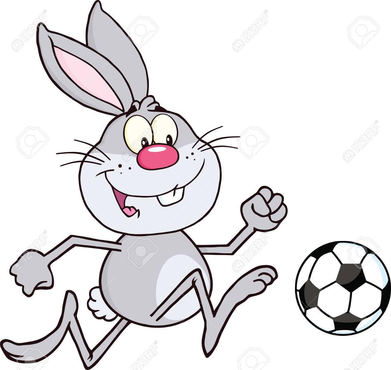 かわいいグレー ウサギ漫画文字再生とサッカー ボール イラスト分離白の