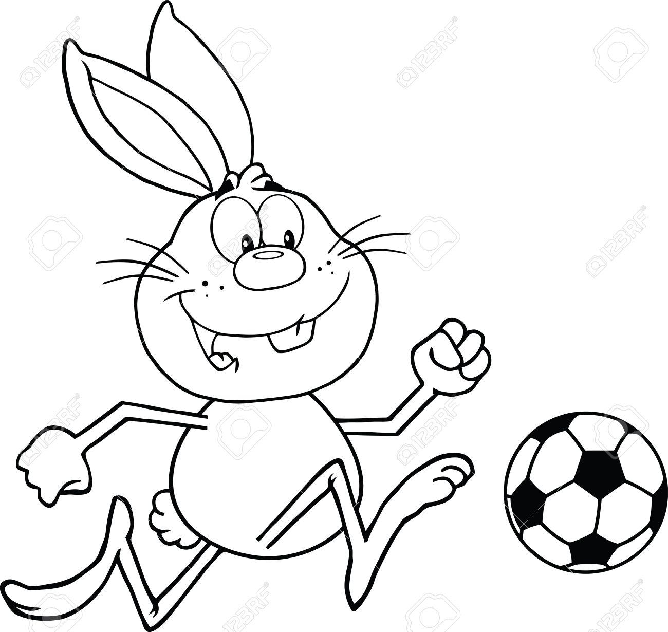黒と白のかわいいウサギ漫画文字再生とサッカー ボール イラスト分離白の
