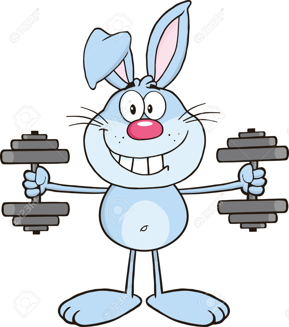 Smiling Blue Rabbit Cartoon Character Training With Dumbbells