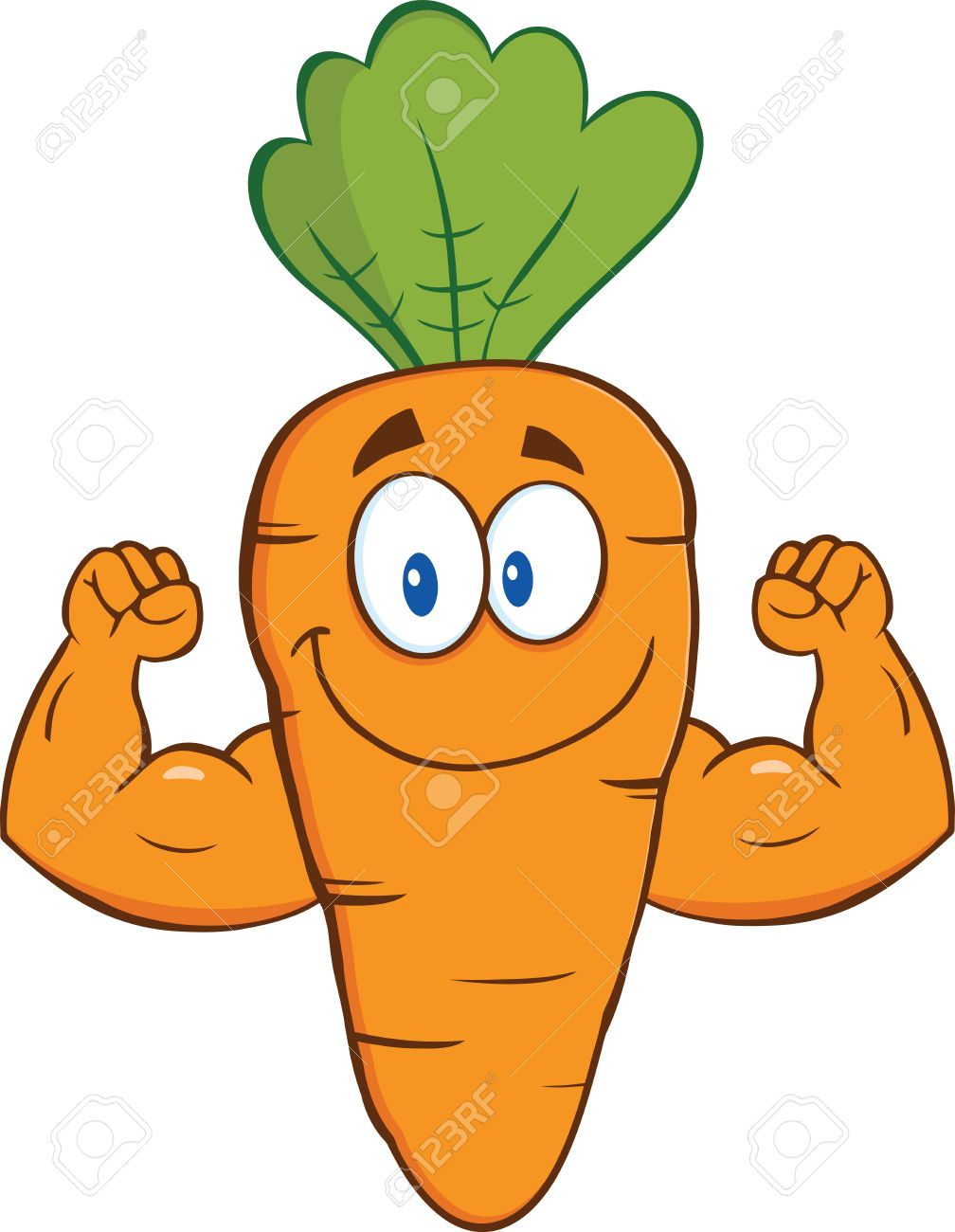 Cute Carrot Cartoon Character Showing Muscle Arms Illustration