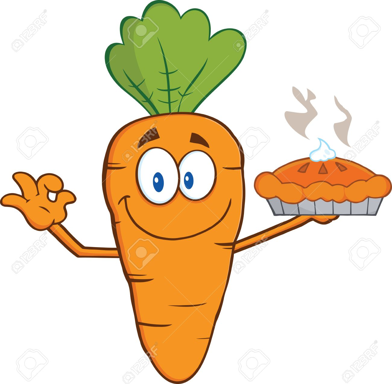 Smiling Carrot Cartoon Character Holding Up A Pie Illustration