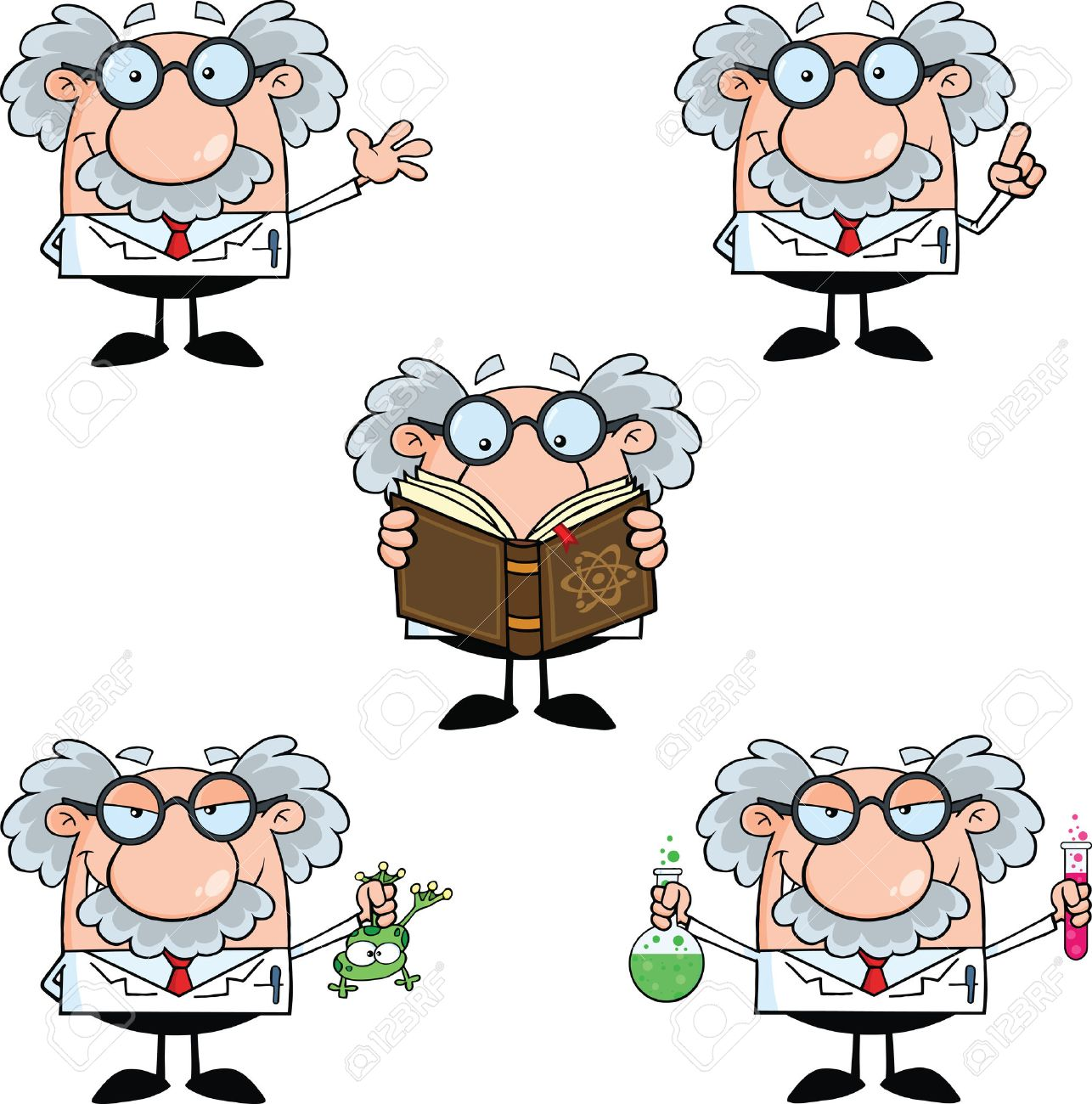 Funny Scientist Or Professor Different Poses 2 Collection Set - 26820233