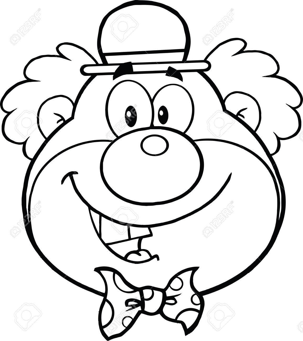 Black and white funny clown head cartoon character illustration