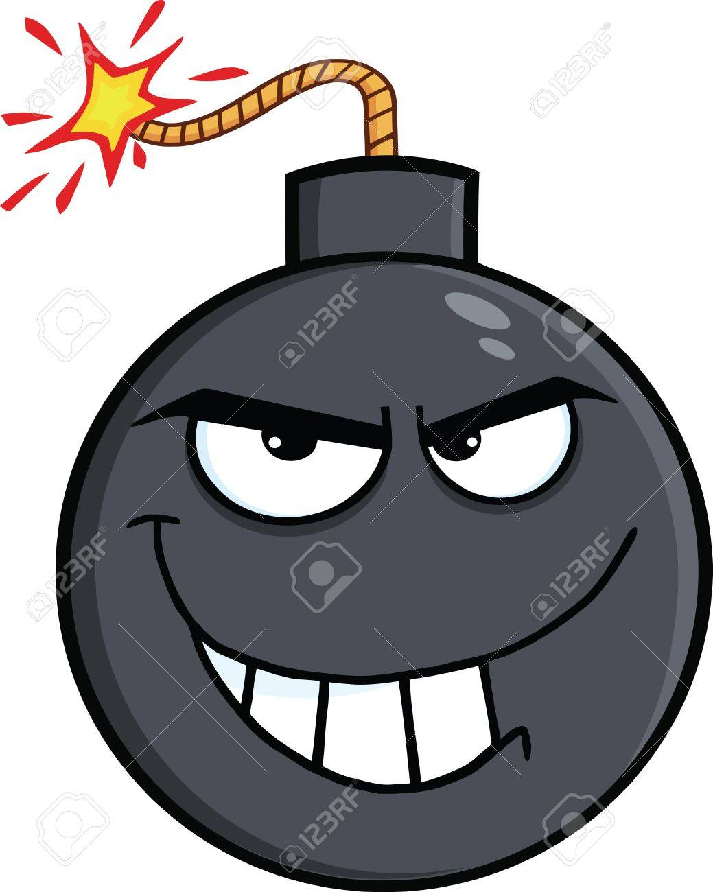 Evil Bomb Cartoon Character  Illustration Isolated on white Stock Vector - 27460949