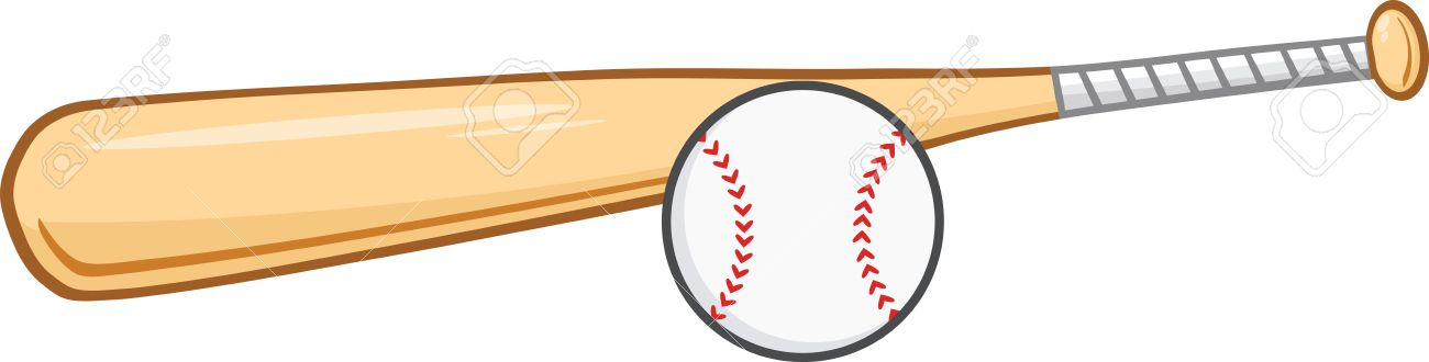 Wooden Baseball Bat And Ball Illustration Isolated On White Royalty
