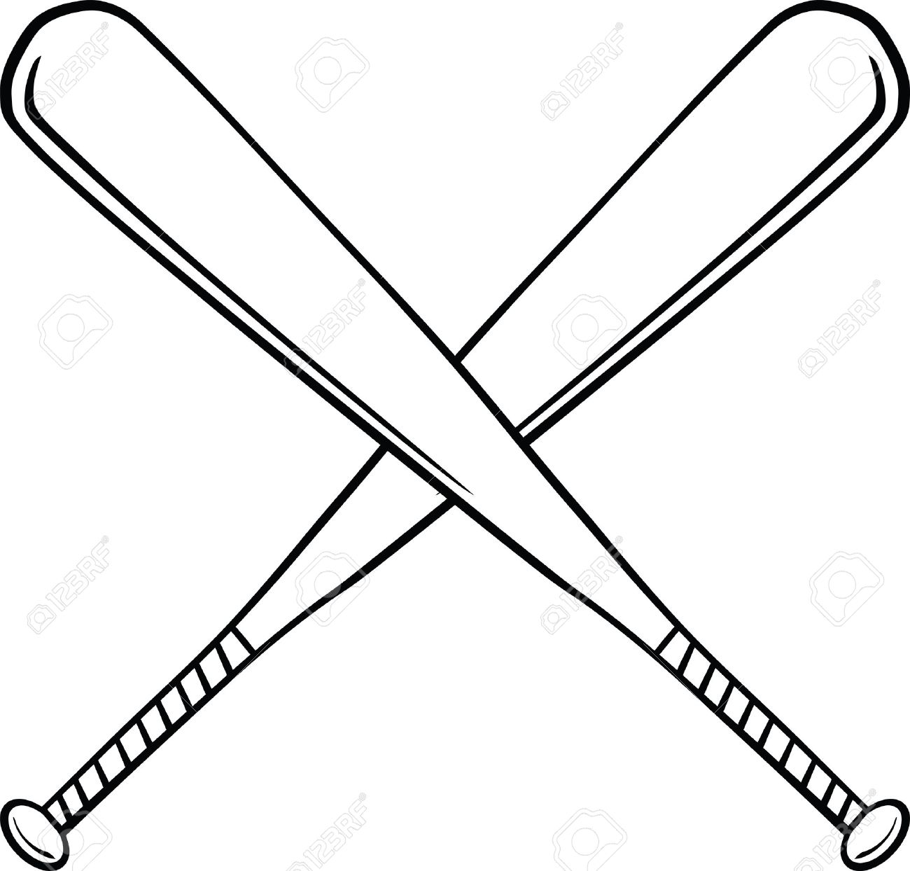 black and white crossed baseball bats illustration isolated rh 123rf com Baseball Bat Cartoon Baseball Bats Cross Clip Art Religious