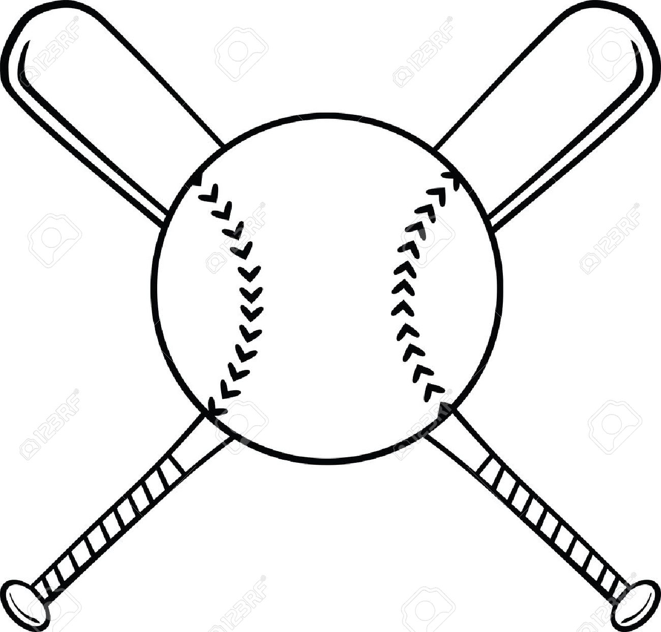 Black And White Crossed Baseball Bats And Ball Illustration