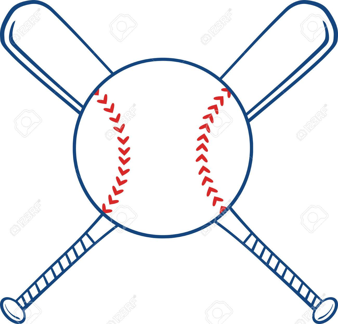 two crossed baseball bats and ball illustration isolated on rh 123rf com